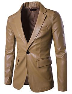 billige Herre Mode Beklædning-Krave Herre Normal Ensfarvet Forår Efterår Gade Daglig Jakke Andet