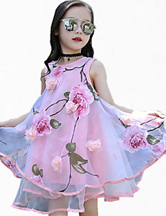 cheap Kids' Clothing-Girl's Sports Floral Dress, Polyester Spring Summer All Seasons Sleeveless Floral Blushing Pink Purple Yellow