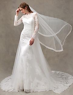 billiga Trumpet-/sjöjungfrubrudklänningar-Trumpet / sjöjungfru Illusion Halsband Hovsläp Spets / Tyll Bröllopsklänningar tillverkade med Applikationsbroderi av LAN TING BRIDE®