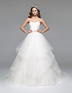 billiga A-linjeformade brudklänningar-A-linje Axelbandslös Golvlång Tyll Bröllopsklänningar tillverkade med Kristall / Bård av LAN TING BRIDE®