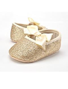 hesapli Çiçekçi Kız Ayakkabıları-Çocuk Bebek Düz Ayakkabılar İlk Adım Parıltılı Kumaş Bahar Sonbahar Düğün Günlük Elbise Parti ve Gece İlk Adım Fiyonk Gore Düz TopukAltın