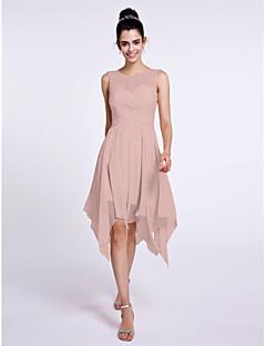 billige Romantisk rosa-A-linje Scoop Neck Knelang Chiffon Brudepikekjole med Kryssdrapering av LAN TING BRIDE®