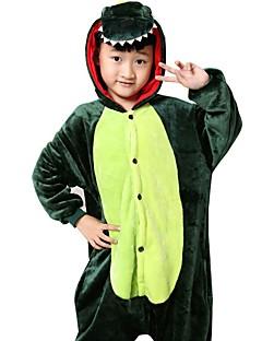 billige Kigurumi-Barne Kigurumi-pysjamas Drage Dinosaur Onesie-pysjamas Flanell Fleece Grønn Cosplay Til Gutter og jenter Pysjamas med dyremotiv Tegnefilm Festival / høytid kostymer