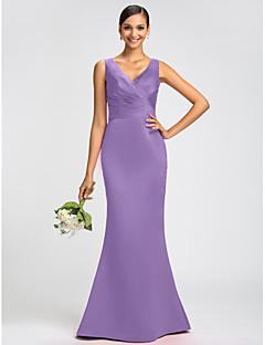 저렴한 롱 드레스-트럼펫 / 머메이드 V 넥 스윕 / 브러쉬 트레인 새틴 오픈 백 드레스 와 허리끈 / 리본 / 크리스 크로스 으로 LAN TING BRIDE®