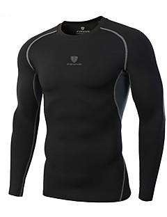 男性用 ランニングTシャツ 長袖 速乾性 高通気性 快適 Tシャツ トップス のために エクササイズ&フィットネス レーシング レジャースポーツ ランニング ポリエステル テリレン タイト ブラック M L XL XXL XXXL
