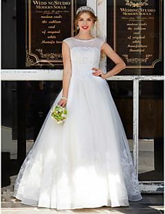 olcso -Báli ruha Ékszer Földig érő Tüll Esküvői ruha val vel Gyöngydíszítés Rátétek által LAN TING BRIDE®