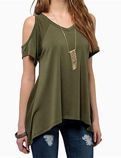 Χαμηλού Κόστους Chiffon tops-Γυναικεία T-shirt Παραλία Μονόχρωμο Λαιμόκοψη V / Καλοκαίρι