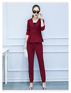 Women's Casual/Daily Simple Summer T-shirt Pant Suits,Solid V Neck ½ Length Sleeve