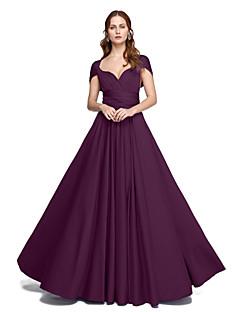 Χαμηλού Κόστους Δοκιμάστε το στο σπίτι-Δείγμα προϊόντος Γραμμή Α Πριγκίπισσα Λουριά Μακρύ Ζέρσεϊ Φόρεμα Παρανύμφων με Πλισέ Χιαστί με LAN TING BRIDE®