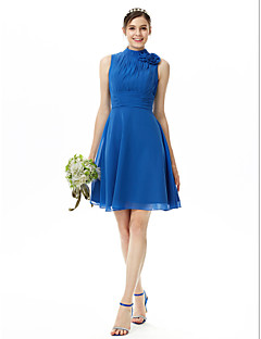 cheap Bridesmaid Dresses-A-Line High Neck Knee Length Chiffon Bridesmaid Dress with Pleats Flower Ruched by LAN TING BRIDE®
