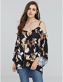 Women's Off The Shoulder Going out / Casual/Daily Sexy All Seasons Shirt,Floral Boat Neck ¾ Sleeve Black Polyester Medium