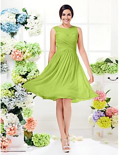 billige Romantisk rosa-A-linje Besmykket Knelang Georgette Brudepikekjole med Kryssdrapering av LAN TING BRIDE®