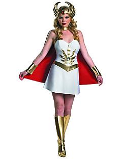billige Halloweenkostymer-Superhelter Cosplay Kostumer Kappe Dame Halloween Festival / høytid Halloween-kostymer Drakter Hvit Annen