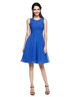 tanie Królewski błękit-Krój A Zaokrąglony Do kolan Szyfon Sukienka dla druhny z Krzyżowe przez LAN TING BRIDE®