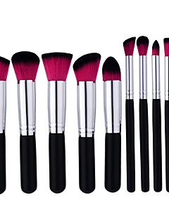 cheap Makeup Brush Sets-10 Makeup Brush Set Nylon Professional Wood Face Foundation Powder Concealer Blush Highlighter Bronzer EyeShadow Eyebrow
