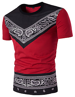 Men's Sports Casual/Daily Street chic T-shirt,Geometric Paisley Round Neck Short Sleeves Polyester