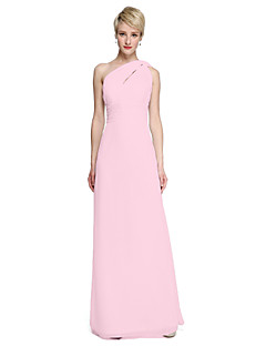 cheap Going Neutral-Sheath / Column One Shoulder Floor Length Chiffon Bridesmaid Dress with Sash / Ribbon Ruched Side Draping by LAN TING BRIDE®