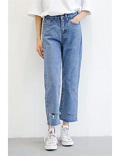 billige Kvinde Underdele-Dame Gade Løstsiddende Jeans Bukser Ensfarvet