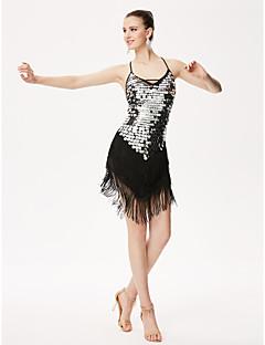 私たちはラテンダンスレオタード女性のパフォーマンススパンコールレオタードドレス