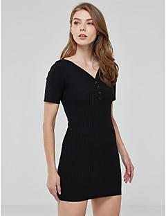 Women's Sexy Buttons Closure Solid Sheath Dress,Deep V Neck Mini Cotton / Spandex Short Dress