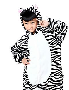 billige Kigurumi-Kigurumi-pysjamas Sebra Onesie-pysjamas Kostume Flanell Fleece Svart/Hvit Cosplay Til Barn Pysjamas med dyremotiv Tegnefilm Halloween