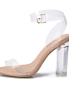 cheap Prom 2018-Women's Shoes PVC Spring Summer Transparent Shoes Sandals Chunky Heel Block Heel Peep Toe Buckle for Casual Dress Party & Evening White