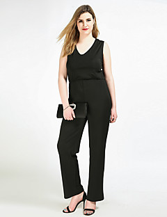 Cute Ann Women's High Rise Work Party Going out Casual/Daily Club Holiday Jumpsuits,Sexy Vintage Simple Straight Slim Pure Color Solid All Seasons