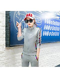 女性用 トラックスーツ 長袖 快適 パンツ トップス のために エクササイズ&フィットネス ランニング コットン スリム ホワイト ブラック グレー M L XL