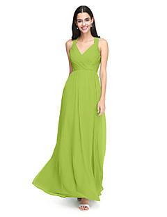 tanie Zielony szyk-Krój A Pasy Sięgająca podłoża Szyfon Sukienka dla druhny z Krzyżowe / Marszczenia przez LAN TING BRIDE®