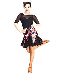 baratos Roupas de Dança Latina-Dança Latina Tutos e Saias Mulheres Espetáculo Renda / Tule / Veludo Renda Natural Saia