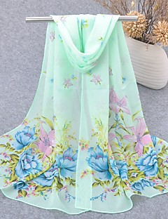 Women's Chiffon Scarf Cute Party Casual Rectangle Green/Blue/Yellow/Pink Print Scarves