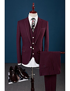 Burgundy Solid Tailored Fit Suit - Notch Single Breasted One-button