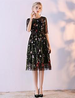 A-Linie Schmuck Tee-Länge Organza Satin - Chiffon Cocktailparty Kleid mit Stickerei Spitze durch Embroidered bridal