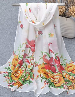 Women's Chiffon Scarf Cute Party Casual Rectangle Fuchsia/Blue/Yellow/Pink Print Scarves