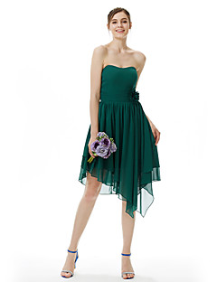 cheap Green Glam-A-Line Princess Strapless Knee Length Asymmetrical Chiffon Bridesmaid Dress with Draping Flower(s) Ruching by LAN TING BRIDE®