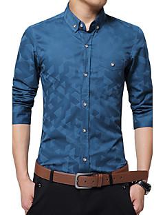 billige Herremote og klær-Bomull Polyester Medium Langermet,Skjortekrage Skjorte Lapper Jacquardvevnad Alle sesonger Enkel Fritid/hverdag Formelle Arbeid Herre
