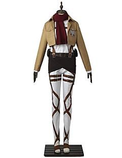 """billige Anime Kostymer-Inspirert av Attack on Titan Mikasa Ackermann Anime  """"Cosplay-kostymer"""" Cosplay Klær Ensfarget Langermet Topp Bukser Forkle Belte Mer"""