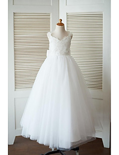 A-Line Floor Length Flower Girl Dress - Tulle Sleeveless V-neck with Bow(s) Flower(s) by LAN TING BRIDE®
