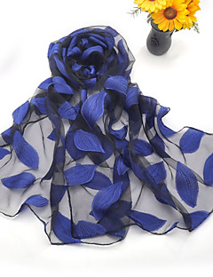 Women's Silk Embroidery Scarf Cute Party Casual Rectangle Green/Royal Blue/Wine/Grey Scarves