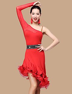 私たちはラテンダンスドレス女性ポリエステル2枚のダンスの衣装をしなければならない
