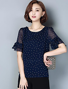 Women's Going out Vintage Blouse,Polka Dot Round Neck Short Sleeves Others