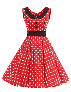 Women's Rockabilly Vintage Dress Red White Polka Dot Round Neck Knee-length Sleeveless Cotton All Seasons Mid Rise