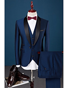 cheap Suits-Royal Blue Solid Slim Fit Cotton Polyester Spandex Suit - Shawl Collar Single Breasted One-button