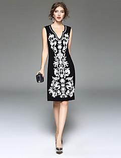 Damen A-Linie Kleid-Party Ausgehen Lässig/Alltäglich Einfach Druck V-Ausschnitt Knielang Ärmellos Kunstseide Elasthan Frühling Sommer