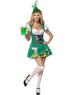 cheap -Maid Costume Bavarian Oktoberfest Cosplay Costume Women's Halloween Oktoberfest Festival / Holiday Halloween Costumes Green Solid Color