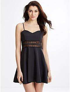 Χαμηλού Κόστους Little Black Dresses-Γυναικεία Θήκη Little Black Skater Φόρεμα - Μονόχρωμο, Κοφτό Μίνι Τιράντες