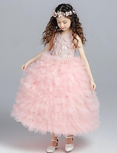 ボールガウン茶色の長さ花ガールのドレス - オーガンザydnでアップリケと袖なしジュエルネック