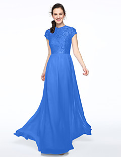 9f026aaadfef7 A-Line Jewel Neck Floor Length Chiffon   Lace Bodice Bridesmaid Dress with  Lace   Pleats by LAN TING BRIDE®   Illusion Sleeve