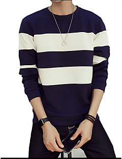 Men's Plus Size Casual/Daily Sweatshirt Striped Cotton Long Sleeve Spring Fall