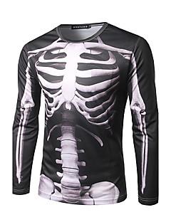 お買い得  幻想的なダーク-男性用 プリント Tシャツ ストリートファッション ラウンドネック スカル / 長袖